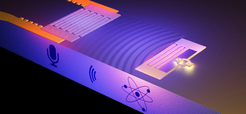 "On the right, an artificial atom generates sound waves consisting of ripples on the surface of a solid. The sound, known as a surface acoustic wave (SAW) is picked up on the left by a ""microphone"" composed of interlaced metal fingers. According to theory, the sound consists of a stream of quantum particles, the weakest whisper physically possible. The illustration is not to scale. Image: Philip Krantz, Krantz NanoArt."